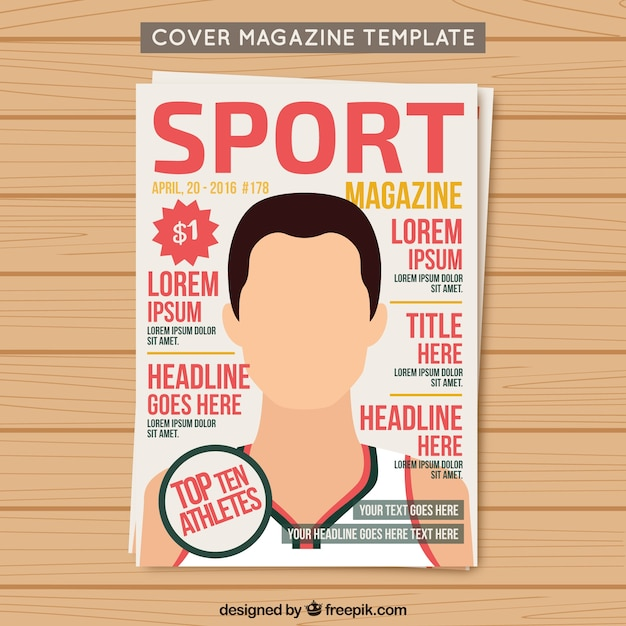 Cover sport magazine template Free Vector