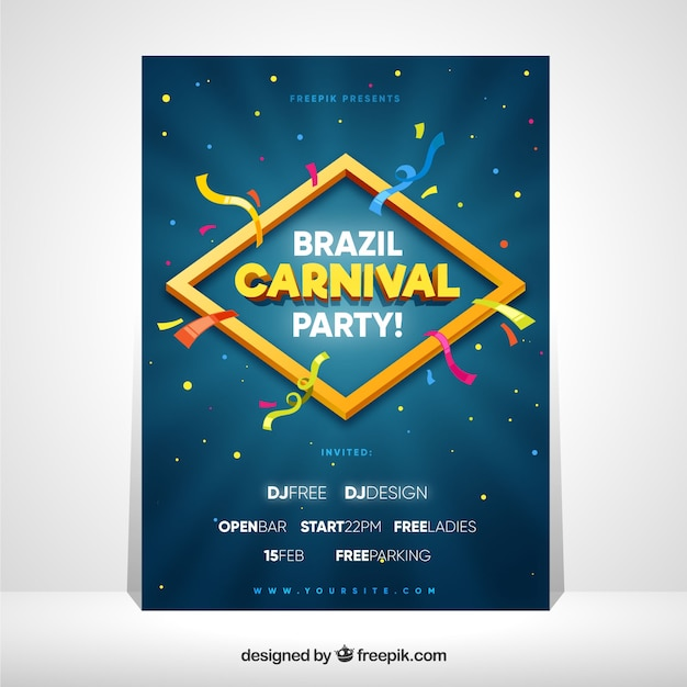 Cover template for brazilian carnival Free Vector