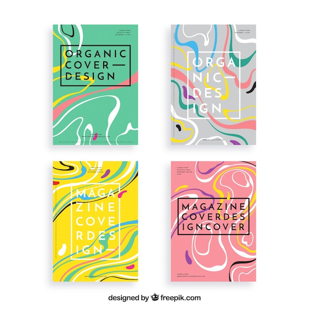 Cover template collection with organic shapes Free Vector