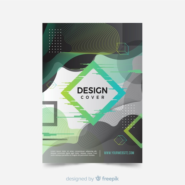Cover template with abstract design Free Vector