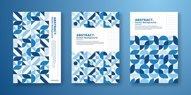 Cover template with abstract geometric bauhaus design Premium Vector