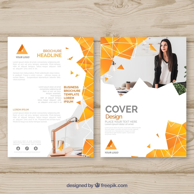 Cover template with geometric design and photo Free Vector