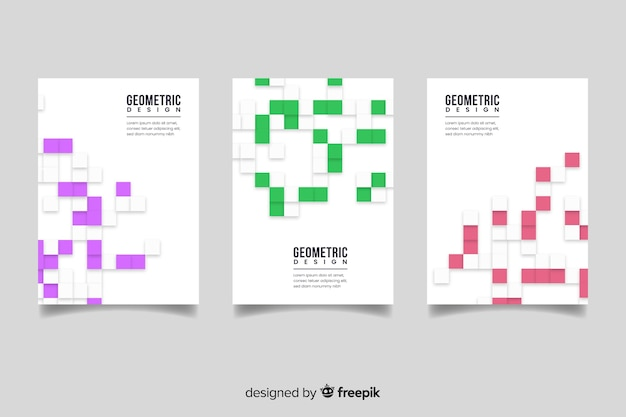 Cover template with geometric design set Free Vector