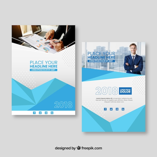 Cover template with polygonal style and buildings Free Vector