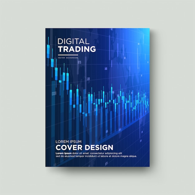 Cover trading. with an illustration of a descending wax chart. Premium Vector