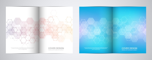 Covers or brochure for medicine, science and digital technology. Premium Vector