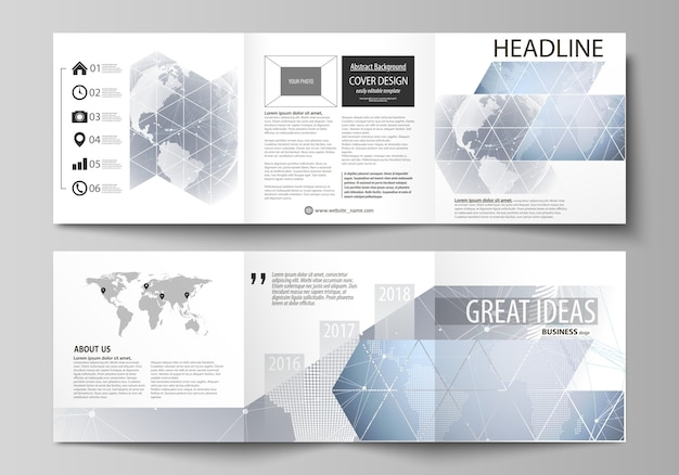 Covers design templates for square brochure or flyer Premium Vector