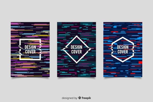 Обложка дизайн с красочным эффектом сбоя Бесплатные векторы