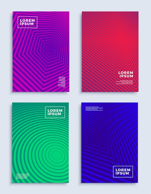 Covers modern abstract design templates set futuristic geometric compositions Premium Vector