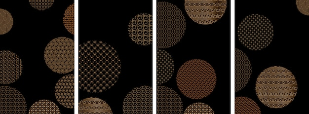 Covers with circles and different golden geometric patterns Premium Vector