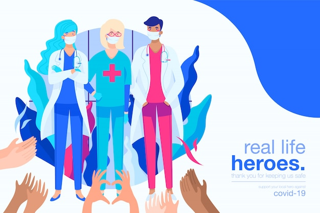 Covid-19 background with medical heroes Free Vector
