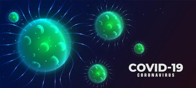 Covid-19 фон коронавирусной болезни с плавающим вирусом Бесплатные векторы