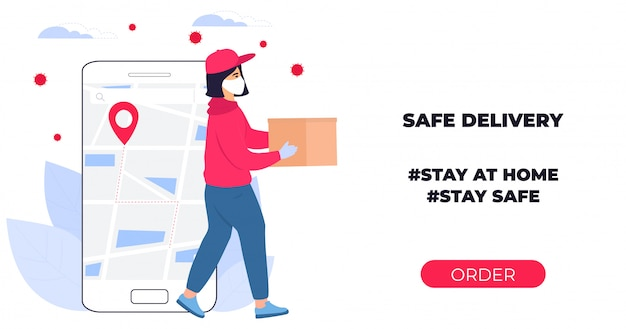 Covid-19. coronavirus epidemic. courier girl in a protective medical mask carries a parcel in his hands. online ordering of goods and food. safe delivery. web page design templates. stay home. Premium Vector
