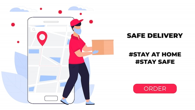 Covid-19. coronavirus epidemic. courier in a protective medical mask carries a parcel in his hands. online ordering of goods and food. safe delivery. web page design templates. stay home Premium Vector