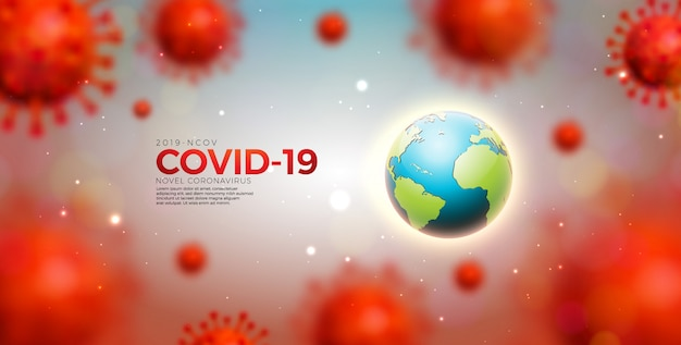Covid-19. coronavirus epidemic design with virus cells and earth Free Vector