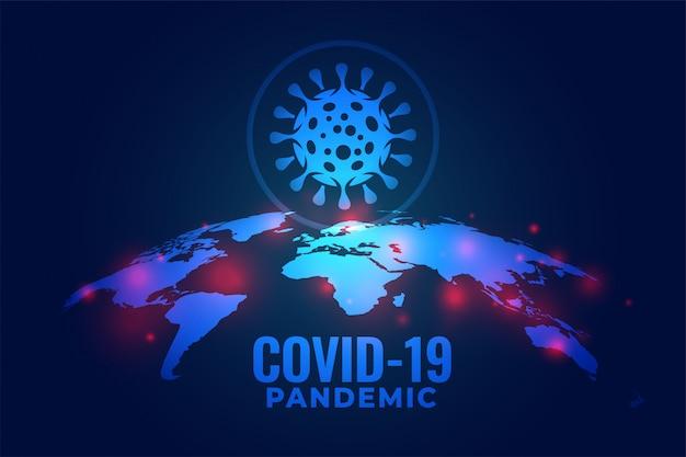 Covid-19コロナウイルスグローバルパンデミック感染背景デザイン 無料ベクター