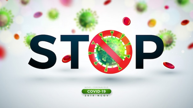 Covid-19. coronavirus outbreak design with falling virus and blood cell in microscopic view on light background. 2019-ncov corona virus illustration on dangerous sars epidemic theme for banner. Free Vector