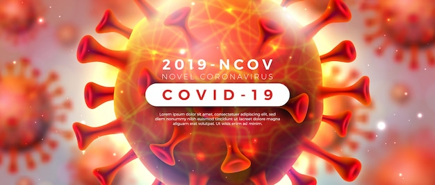 Covid-19. coronavirus outbreak design with virus cell in microscopic view on shiny light background. 2019-ncov corona virus illustration on dangerous sars epidemic theme for promotional banner. Free Vector