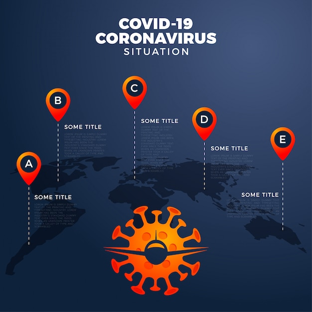 Premium Vector Covid 19 Covid 19 Map With Infographic Report Worldwide Globally Coronavirus Disease 2019 Situation Update Worldwide Maps Infographic Area Show Situation In The World Flight Cancelled With Plain