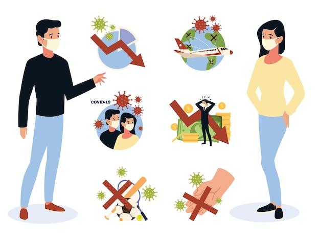 Кризис covid 19 влияние коронавируса, мировая экономика, контактные лица, спортивные события и финансовый кризис Premium векторы