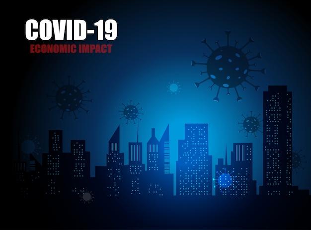 Covid-19経済とビジネスへの経済的影響、コロナウイルスによって引き起こされた株式市場の暴落を表すグラフ Premiumベクター