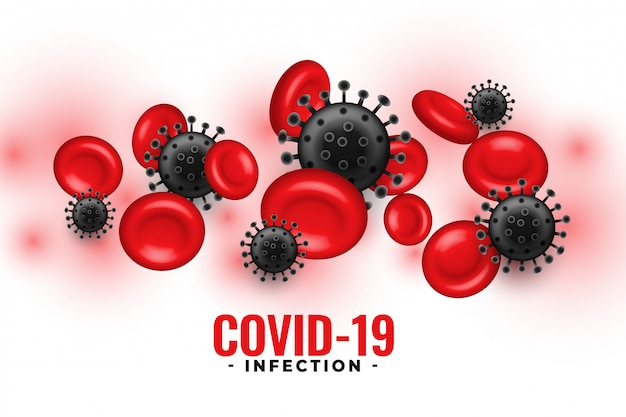 Covid-19 infection background with blood platelets and virus cells ...