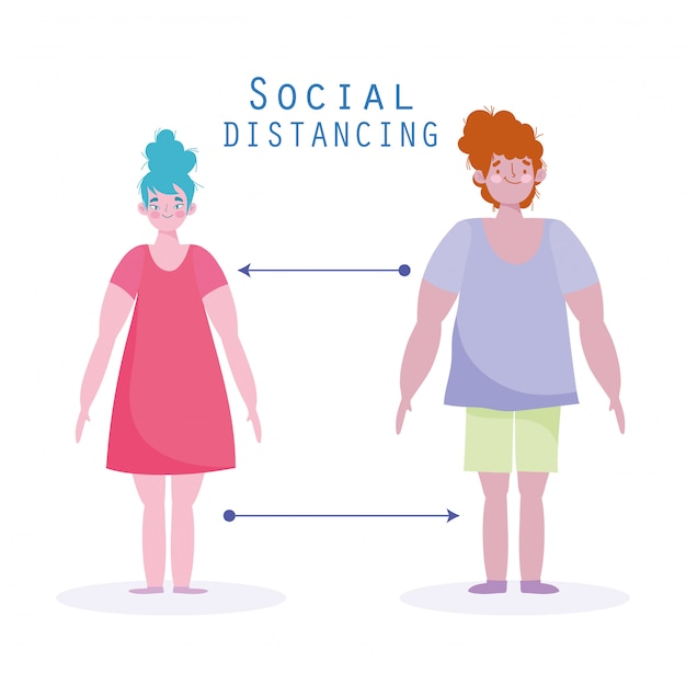 Covid 19, профилактика социального дистанцирования, женщина и мужчина держатся на расстоянии, распространяют болезнь Premium векторы