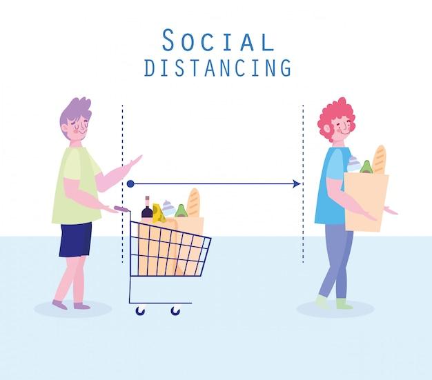 Covid 19, профилактика социального дистанцирования, женщина и мужчина очереди на продуктовый Premium векторы