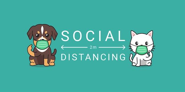 Концепция защиты от covid-19 мультяшный кот и собака в защитной маске социальное дистанцирование Premium векторы