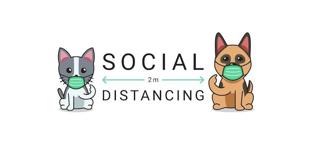 Концепция защиты от covid-19 мультипликационный персонаж кошка и собака в защитной маске социальное дистанцирование Premium векторы
