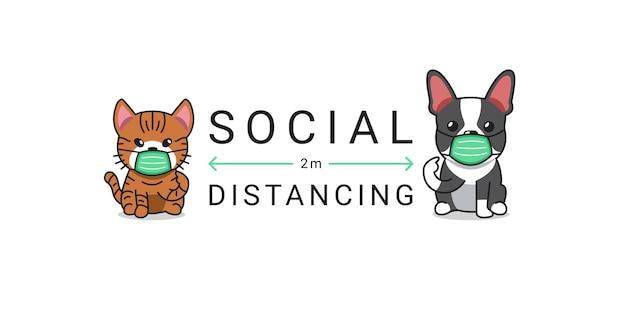 Covid-19保護コンセプト漫画のキャラクター猫と犬の保護フェイスマスクを身に着けている社会的距離 Premiumベクター
