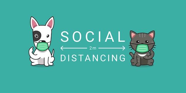 Концепция защиты от covid-19 мультипликационный персонаж собака и кошка в защитной маске социальное дистанцирование Premium векторы