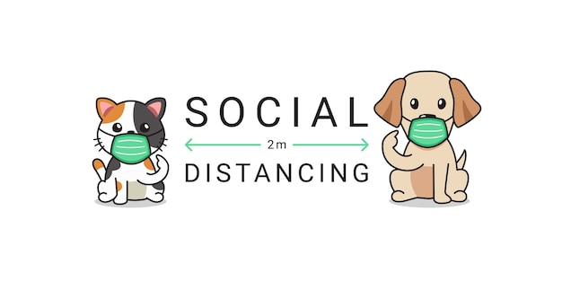 Концепция защиты от covid-19 кошка и собака в защитной маске социальное дистанцирование Premium векторы