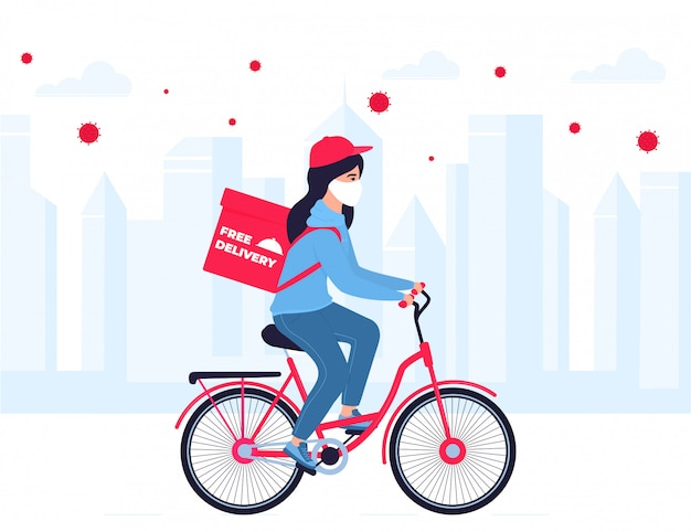 Covid-19. quarantine in the city. coronavirus epidemic. delivery girl in a protective mask carries food on a bicycle. free shipping. Premium Vector