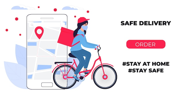 Covid-19. quarantine in the city. coronavirus epidemic. delivery girl in a protective mask carries food on a bike. web page design templates. stay home. Premium Vector