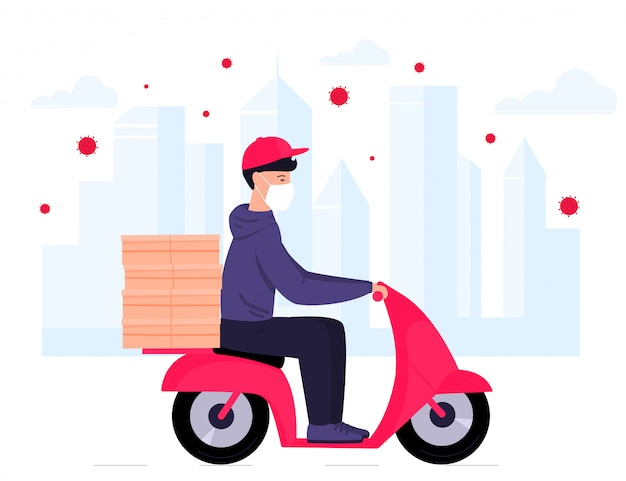 Covid-19. quarantine in the city. coronavirus epidemic. delivery man in a protective mask carries food on a motorbike. free shipping. Premium Vector