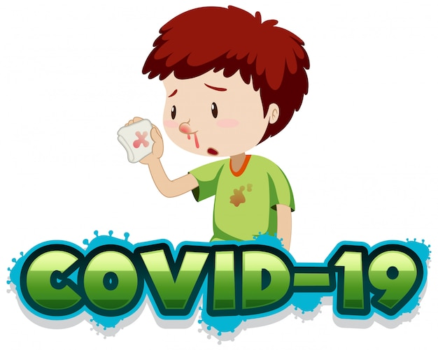 Covid 19 sign template with boy and bloody nose Free Vector
