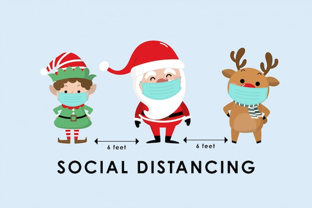 Covid-19 and social distancing infographic with cute christmas cartoon Premium Vector
