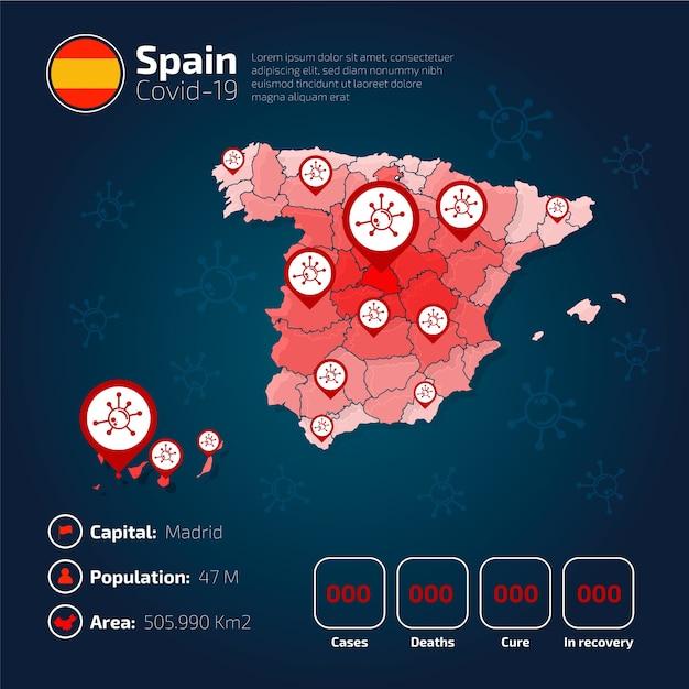 Covid-19 spagna mappa del paese infografica Vettore gratuito