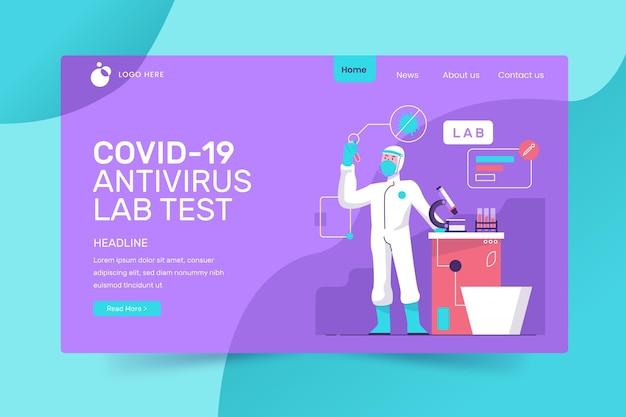 Covid-19テストのランディングページスタイル 無料ベクター