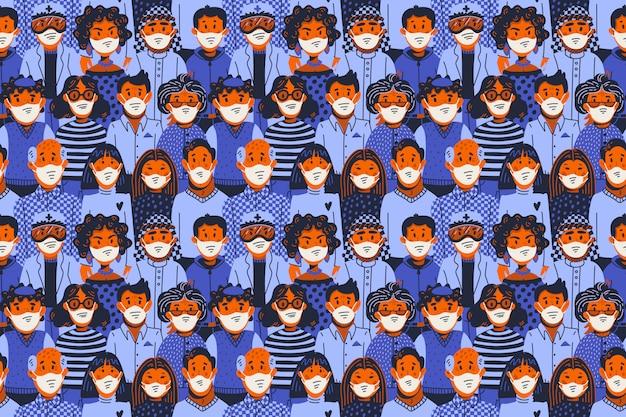 Эпидемия бесшовные модели. новый коронавирус covid-19, люди в медицинских масках. распространение вируса, пандемия. Premium векторы