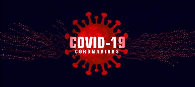 Covid-19 коронавирусный фон с микроскопическим красным вирусом Бесплатные векторы