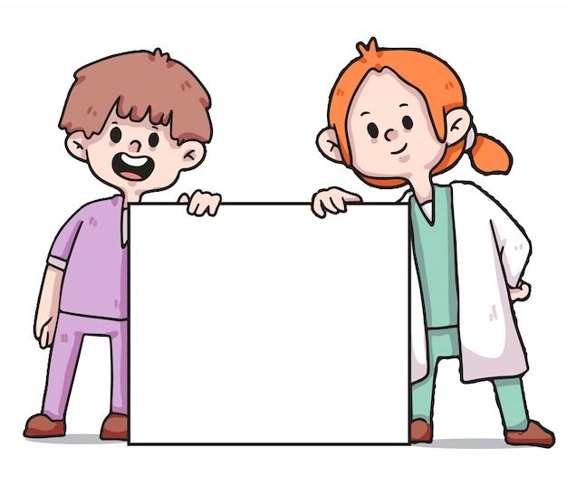 Медицинские работники, держа знамя covid-19 иллюстрации Premium векторы