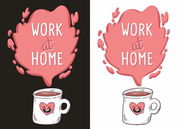 Работа на дому кофе covid-19 иллюстрация Premium векторы