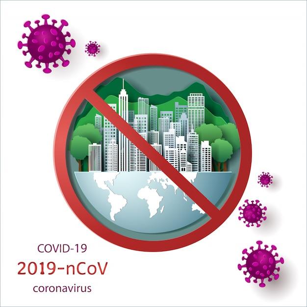 Белый город с зеленым лесом на земле и зеленой предпосылкой закрыл для блокировки с концепцией covid-19. Premium векторы