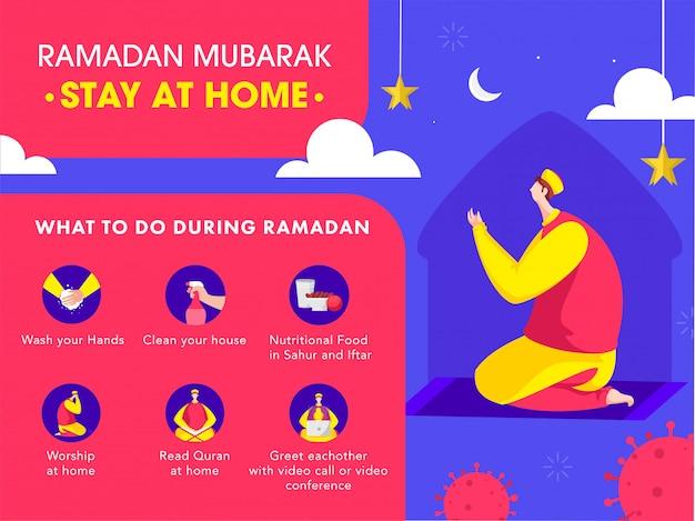 意識のソーシャルメディアキャンペーンのためにラマダンムバラクでcovid-19防止を使用して自宅でナマズを提供しているイスラム教徒の男性。 Premiumベクター