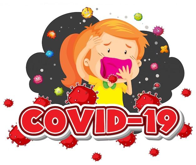 Covid 19サインテンプレートの女の子とバックグラウンドで多くのウイルス 無料ベクター