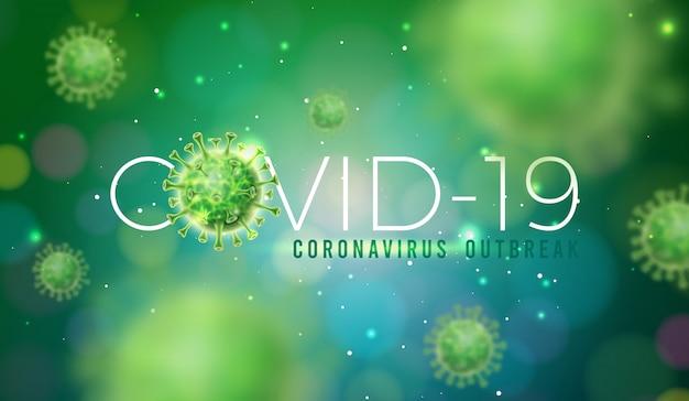 Covid-19. дизайн вспышки коронавируса с использованием вирусной клетки в микроскопическом представлении Бесплатные векторы