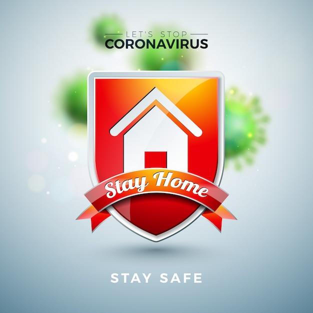 Остаться дома. остановите дизайн коронавируса с вирусом covid-19 и щитом на светлом фоне. Бесплатные векторы