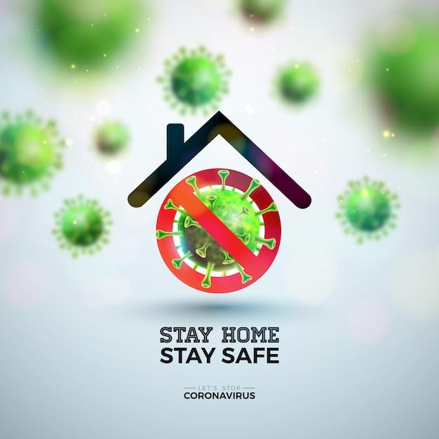 Остаться дома. остановите коронавирусный дизайн с падающим вирусом covid-19 и абстрактным домом на легком фоне. Бесплатные векторы